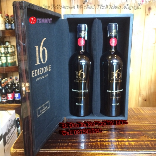 Vang đỏ Italia Tphcm Edizione 16 chai 75cl kèm hộp gỗ Cao Cấp