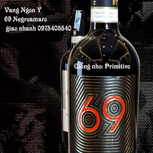 Vang Ý Ngon 69 nho Primitivo giao Nhanh - 0975405540