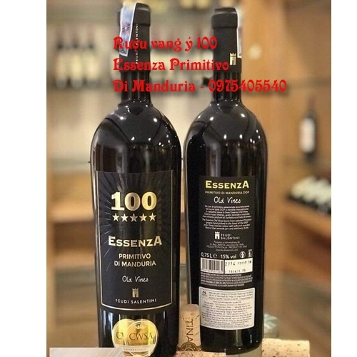 Rượu vang Ý 100 Essenza Primitivo Di Manduria 750ml Giao Nhanh 0975405540
